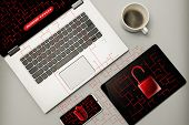 Cyber Attack And Virus Detected Concept. The Laptop, Smartphone And Tablet Under Cyber Attack, Virus poster