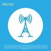 Blue Antenna Icon Isolated On Blue Background. Radio Antenna Wireless. Technology And Network Signal poster
