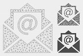 Mesh Email Model With Triangle Mosaic Icon. Wire Frame Triangular Mesh Of Email. Vector Mosaic Of Tr poster