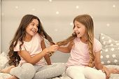Children Cheerful Play With Hair In Bedroom. Happy Childhood Moments. Kids Girls Sisters Best Friend poster