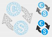 Mesh Euro Dollar Change Model With Triangle Mosaic Icon. Wire Frame Polygonal Network Of Euro Dollar poster