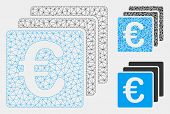 Mesh Euro Finances Model With Triangle Mosaic Icon. Wire Carcass Triangular Mesh Of Euro Finances. V poster
