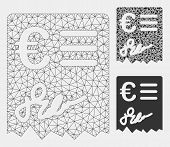 Mesh Euro Invoice Model With Triangle Mosaic Icon. Wire Carcass Triangular Mesh Of Euro Invoice. Vec poster