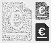 Mesh Euro Invoice Model With Triangle Mosaic Icon. Wire Frame Triangular Mesh Of Euro Invoice. Vecto poster