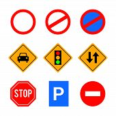 A Collection Of Vector Traffic Signs And Symbols. Great For Use To Convey Traffic Related Messages.  poster