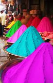 Colorful Piles Of Holi Powder Dye At Mysore Market