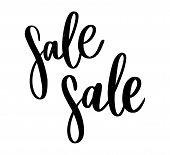 Black Letters: Sale, Hand Sketched Sale Lettering Typography. Hand Drawn Sale Lettering Sign. Badge, poster