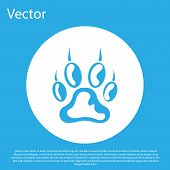 Blue Paw Print Icon Isolated On Blue Background. Dog Or Cat Paw Print. Animal Track. White Circle Bu poster