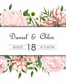 Wedding Floral Invite, Invtation, Save The Date Card Design. Watercolor Blush Pink Roses, Cute White poster