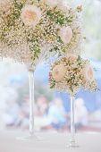 Pale Creamy Rose And Gypsophila Floral Wedding Decor In 2 Elegant Glass Vases. Pastel Vintage Toning poster