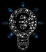 Bright Mesh Euro Innovation With Glow Effect. Abstract Illuminated Model Of Euro Innovation Icon. Sh poster