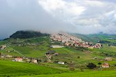Amazing View Of Village Gangi In Sicily, Italy Photographed In Foggy Weather. The Historical City Is poster