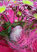 Pink flowers and painted easter egg