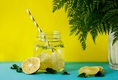 Lemonade With Fresh Lemon. Summer Drink. Infused Detox Water In Mason Jar On Yellow Background. Deto poster