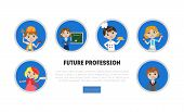 Kids Of Different Professions Set, Future Profession Banner, Landing Page Template, Kindergarten Car poster