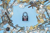 Keys Set With Funny Lock In Middle Concept, Blue Background. Choosing Of Door Lock Keys And Safes Fo poster