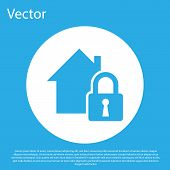 Blue House Under Protection Icon Isolated On Blue Background. Home And Lock. Protection, Safety, Sec poster