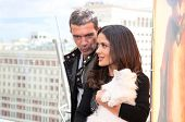 MOSCOW - JULY 16: Antonio Banderas and Salma Hayek arriving at the
