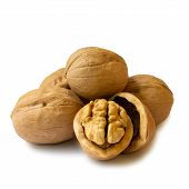 Isolated Whole Walnuts And Walnut Kernel Halves Without Shell On A White Background, Close Up. Seeds poster