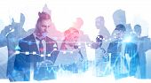 Diverse Business Team Working With Gadgets Over Abstract City Background With Double Exposure Of For poster