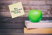 Be Awesome Today Inspirational Quote On Sticky Notes, Office Desk. poster
