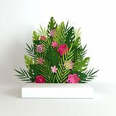 Tropical Paper Palm, Monstera Leaves And Flowers Frame, Podium Platform For Product Presentation. Su poster