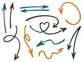 Hand Drawn Diagram Arrow Icons Vector Set. Up Down Marker Sketch Arrows, Right And Left Direction Po poster