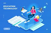Futuristic Education Technology Page For Smartphone Application. Isometric Banner For Online Educati poster