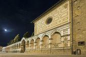 Basilica of Santa Maria Novella at night with full moon - famous landmark of Florence, Italy. Renaissance facade. poster