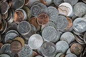 Coin Texture Background With A Pile Of Coins Everywhere poster