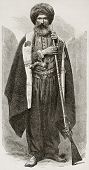 Old Chaldean man engraved portrait. Created by Bayard after photo of unknown author, published on Le