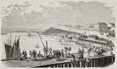 Tampico old view from lake bank, Mexico. Created by Gaildrau and Dumont, published on L'illustration, Journal Universel, Paris, 1863
