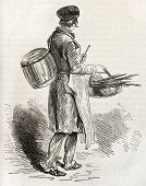 Smoked eel and gherkins merchant. Created by Loeffler, published on L'illustration, Journal Universel, Paris, 1863