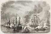 Charleston sea battle old illustration, South Carolina. Created by Lebreton, published on LIllustra poster