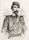 General Papadiamantopoulos old engraved portrait (Commander in chief of Greek Army). Created by Janet-Lange, published on L'Illustration, Journal Universel, Paris, 1863