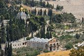 stock photo of magdalene  - Mount of Olives Church of All Nations and Church of Mary Magdalene view from the walls of Jerusalem - JPG