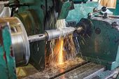 Grinding On The Machine, High-precision Machining Of Parts With An Abrasive Wheel On A Circular Grin poster
