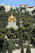 picture of church mary magdalene  - Mount of Olives Church of Mary Magdalene view from the walls of Jerusalem - JPG