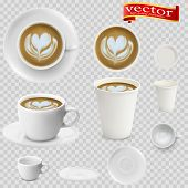 3d Realistic Cappuccino Coffee In White Cups View From The Top And Side. Cappuccino Coffee In White  poster