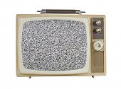 Vintage 1960's portable television with static screen, isolated on white.