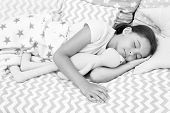 Girl Happy Child Lay Bed Pillow And Blanket Bedroom. Lullaby Concept. Ways To Fall Asleep Faster. Fa poster