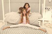 Stretching Daily Regime. Gymnast Practice Split With Friend. Girl Child Sit Split In Bedroom. Friend poster