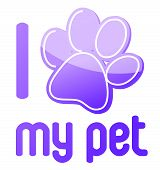 i love my pet illustration design on white background