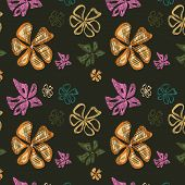 Seamless Background With Varicoloured Flowers