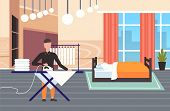 Man Ironing Clothes Guy Using Iron Doing Housework Concept Modern Bedroom Interior Male Cartoon Char poster