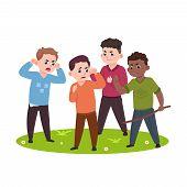 Angry Kids. Bad Boys Confronting And Bullying Smaller Children Vector Illustration. Boy Bully Behavi poster