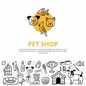 Cute Pets And Different Care Elements In Doodle Style. Vet Symbol Collection Like Kennel, Leash, Foo poster