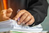 Businessman Hands Checking Documents File Paperwork Financial Market, Searching Information On Work  poster