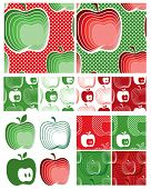 Modern Apple Seamless Vector Patterns. Use to create items for home cooking or craft projects. Matc