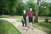 picture of senior-citizen  - Senior couple enjoying the outdoors holding hands - JPG